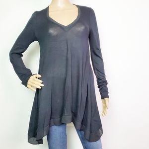 Anthro Deletta Black Long Sleeve Tunic XS  NWOT